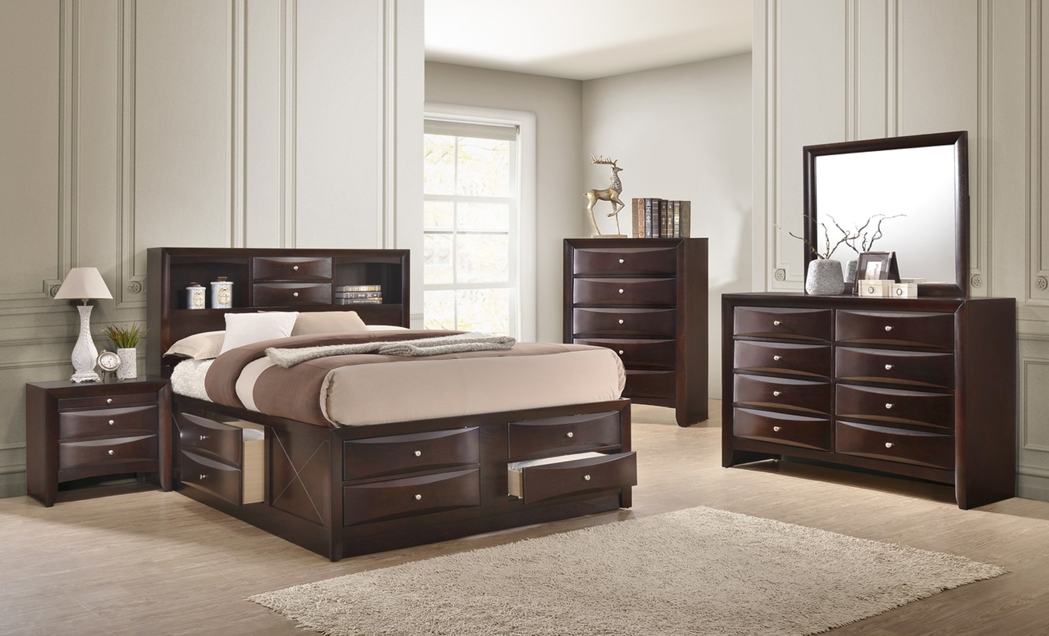 B4265 EMILY BEDROOM SET DARK CHERRY COLLECTION by Crown Mark