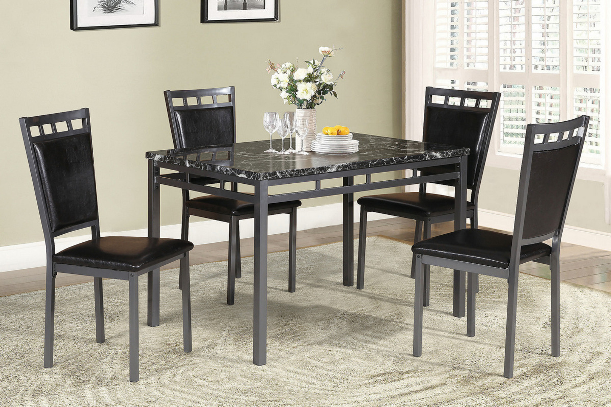 F2389-5PCS DINING TABLE SET ESPRESSO By Poundex