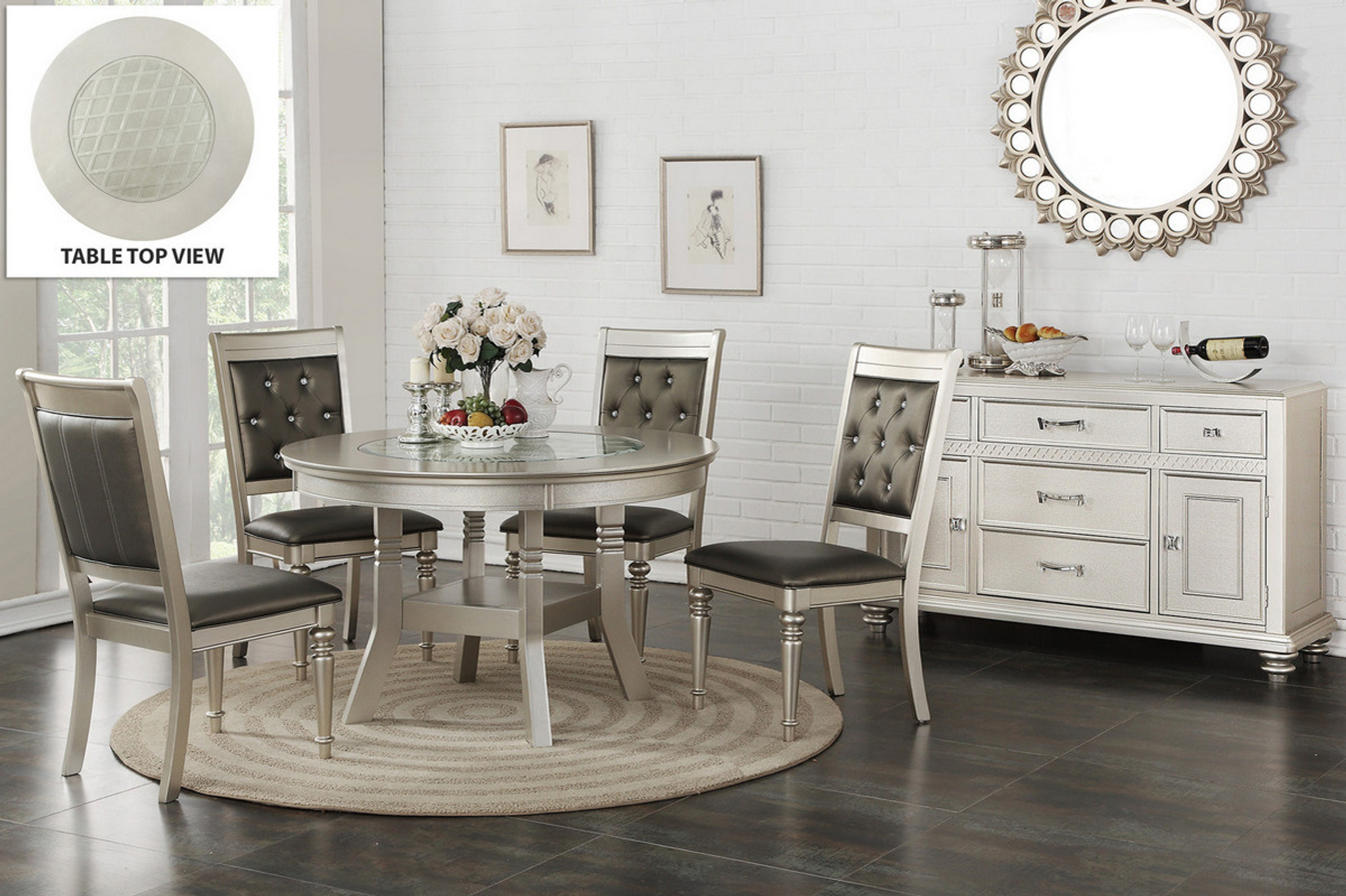 5PCS SILVER ROUND DINING TABLE SET-F2428-F1705 : poundex dining table set - pezcame.com