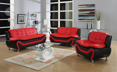 GIANCARLO RED AND BLACK LIVING ROOM SET