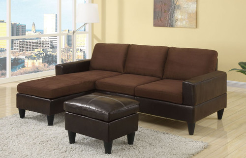 ALL-IN-ONE SECTIONAL IN CHOCOLATE/FAUX LEATHER
