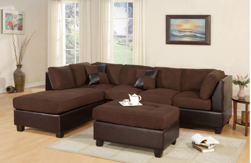 MODERN CHOCOLATE 2 PCS SECTIONAL SOFA AND CHAISE SET