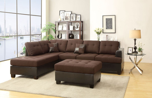 3-PCS SECTIONAL SOFA IN BLENDED LINEN CHOCOLATE