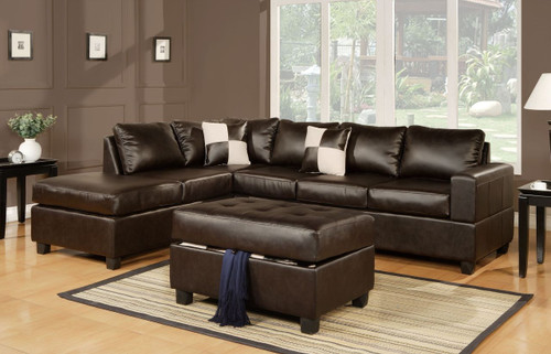 3-PCS SECTIONAL SOFA BONDED LEATHER ESPRESSO