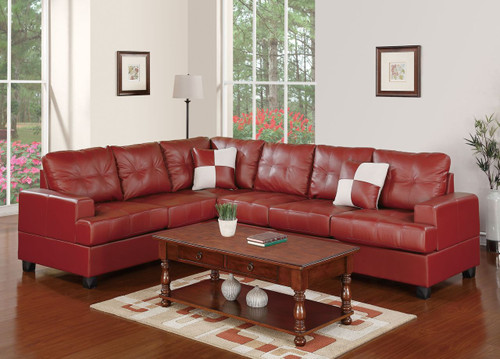 2-PCS SECTIONAL SET W/2 ACCENT PILLOWS-BURGUNDY