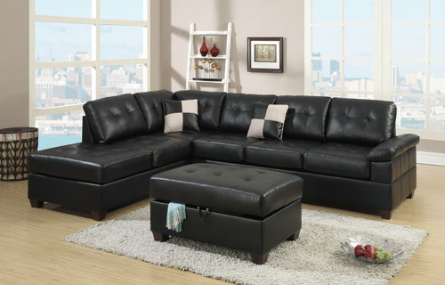 2-PCS SECTIONAL BLACK BONDED LEATHER