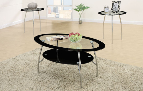 3-PCS COFFEE TABLE SET IN OVAL BLACK EDGE GLASS