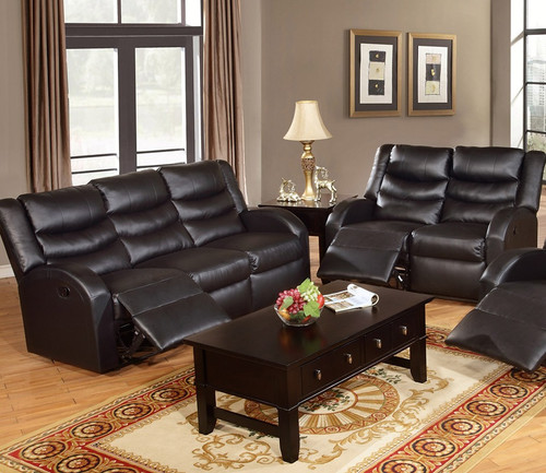 ROCKER RECLINER 2PC SOFA AND LOVESEAT IN BONDED LEATHER/BLACK