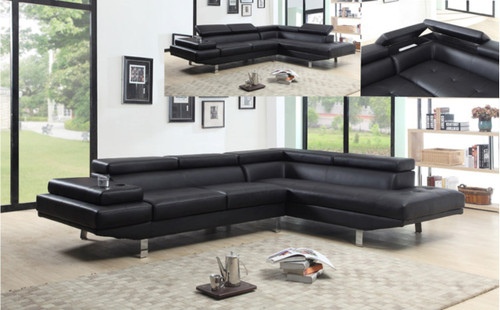 MODERN 2 PCS BLACK BONDED LEATHER SECTIONAL