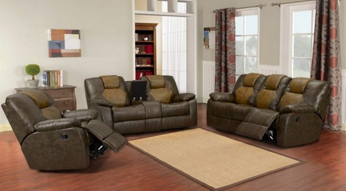 BRANTLEY Two-Tone Leather Reclining 3 PCS Living Room Set: Sofa, Loveseat, Chair