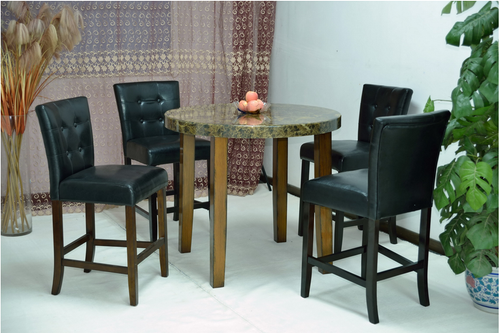 Black Cream Brown Marble Round Top Dining Table with Black Glossy Leather Chair  (5-piece set)
