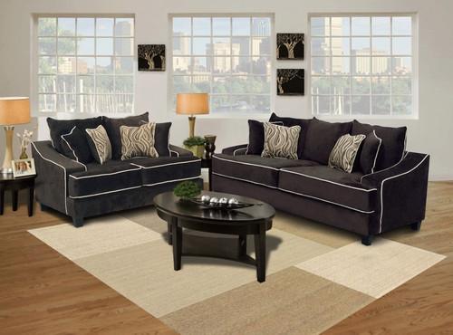 Eleanor 2 Pcs Sofa & Loveseat Fabric Jamba Fudge