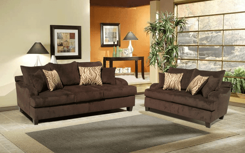 2 PCS Fabric Joy Ride Chocolate Sofa and Loveseat