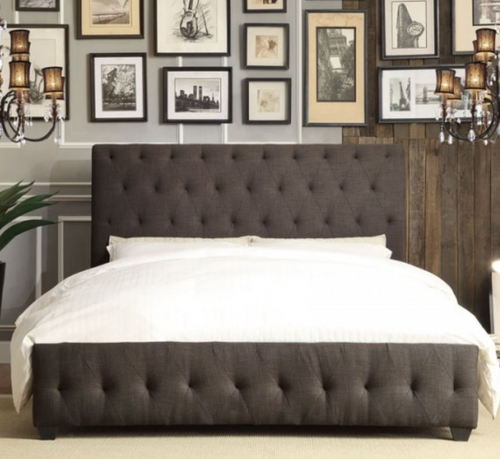 BALDWYN  CHARCOAL TUFTED BED FRAME