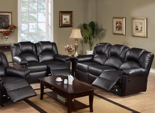 Black Leather 2PCS Motion Sofa Recliner Set - SOFA AND LOVESEAT