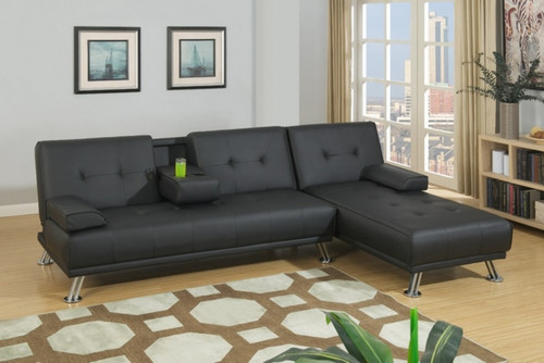 ADJUSTABLE SECTIONAL SOFA 2PC SOFA AND CHAISE BLACK FAUX LEATHER