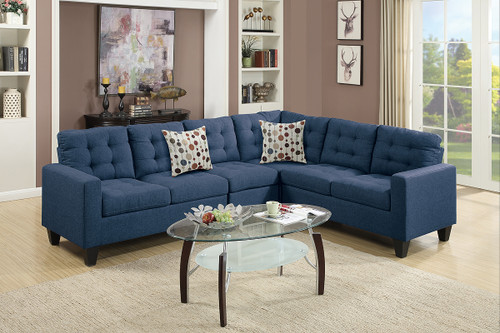 4PC MODULAR SECTIONAL W/ 2 ACCENT PILLOWS IN NAVY COLOR