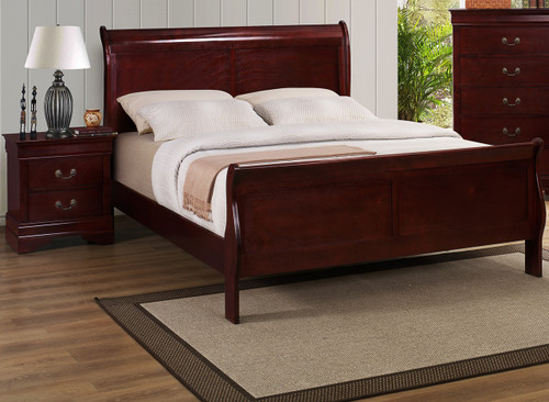 CHERRY SLEIGH BED FRAME MATTRESS AND BOXSPRING