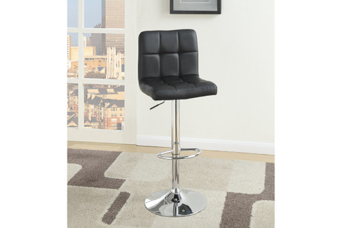 2PC WAFFLE BLACK FAUX LEATHER ADJUSTABLE BARSTOOL