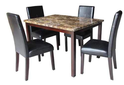 ANTONELLA CHERRY BROWN 5 PCS FAUX MARBLE TOP DINING TABLE SET