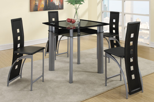 5PCS BLACK PAINTED GLASS & LEATHERETTE CHAIRS COUNTER DINING SET