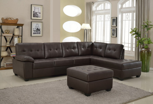 3PCS BROWN LEATHER SECTIONAL SOFA CHAISE AND OTTOMAN