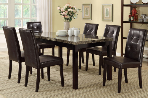 7PCS MARBLE-LOOK TWO-TONED FINISHED TABLETOP DINING ROOM SET