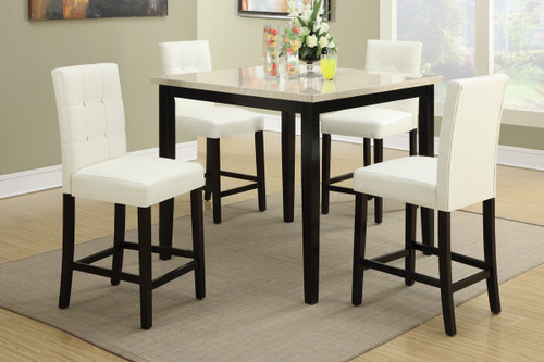 5PCS CREAM STONE TABLE TOP COUNTER HEIGHT DINING SET