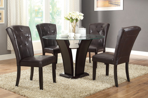5-PIECE GRANDLY DESIGN ROUND TABLE DARK ESPRESSO FAUX LEATHER DINING ROOM SET
