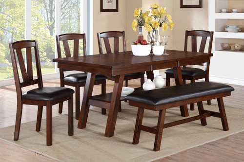 5-PCS V DESIGN DARK WALNUT FINISH DINING ROOM SET