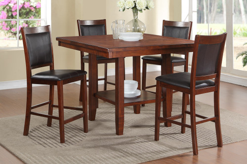 5-PCS ACACIA BLACK FAUX LEATHER COUNTER HEIGHT TABLE SET