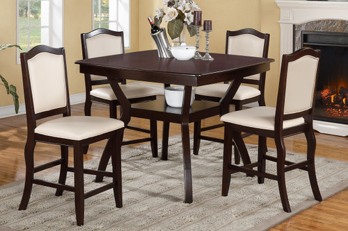 DARK BROWN WOOD VENEER FAUX LEATHER 5 PCS COUNTER HEIGHT DINING ROOM SET