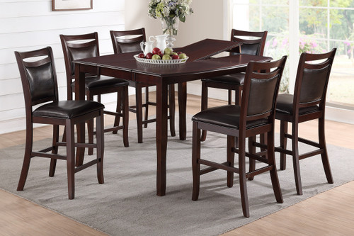 ANACARDIUM WOOD RECTANGULAR SHAPED 7-PIECES COUNTER HEIGHT TABLE SET
