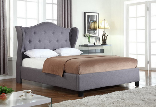 CHLOE Gray Upholstered Winged  Headboard Platform Bed (No Boxspring Required)