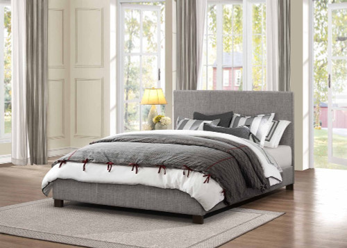 CHASIN Neutral Gray Upholstered Platform Bed (No Boxspring Required)