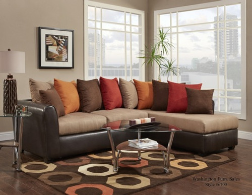 Victory Lane Taupe/Trapper Brown 2 PC Sectional