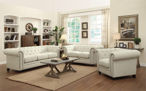 RESTORATION 2PC SOFA AND LOVESEAT SET (OATMEAL LINEN BLEND)