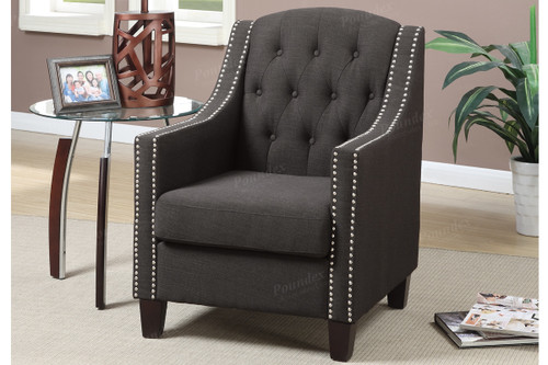 ACCENT CHAIR IN ASH BLACK COLOR W/NAILHEAD