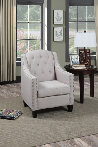 ACCENT CHAIR IN BEIGE COLOR W/NAILHEAD