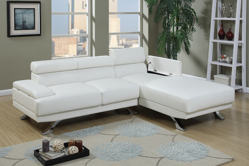 2PC SECTIONAL W/ FLIP UP HEADREST IN WHITE COLOR