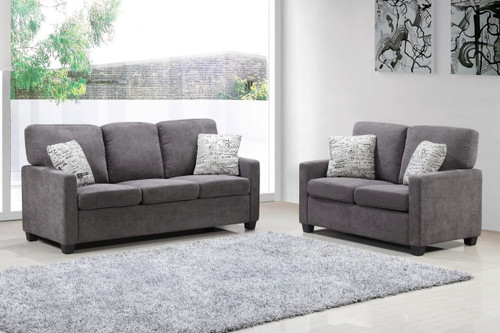 2PC Charcoal Sofa and Loveseat Set with Accent Pillows