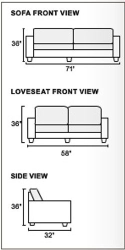 2-Pcs Sofa Set in Blue Grey
