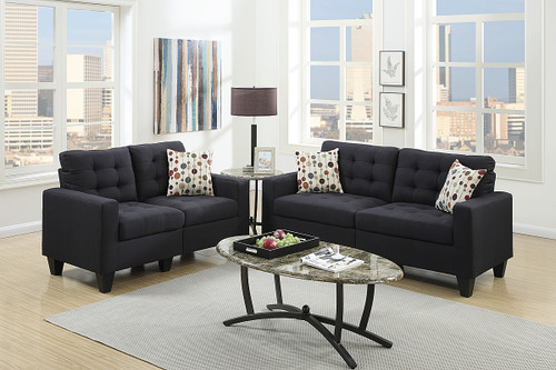 2-Pcs Sofa Set in Black Color
