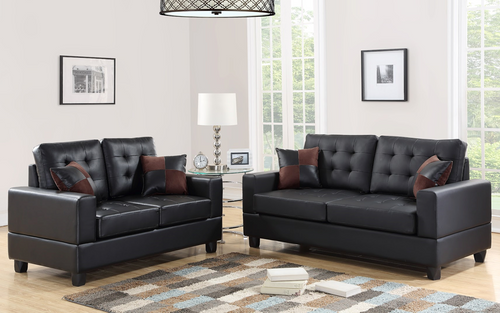 2-Pcs Sofa Set in Black Color with Accent Pillows