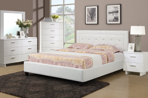 FULL OR QUEEN SIZE BED FRAME PLATFORM UPHOLSTERED IN WHITE FAUX LEATHER