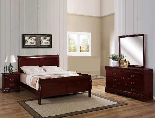 Louis Phillip 6pcs Bedroom Set in Cherry Color