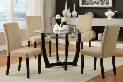 ESPRESSO WOODEN BASE AND GLASS 5 PCS DINING SET WITH HAZELNUT CHAIRS