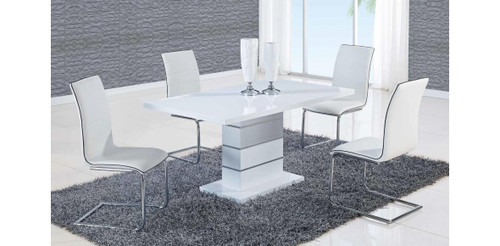 ALEXIA 5 PCS CONTEMPORARY SET 4 WHITE CHAIRS AND WHITE MODERN TABLE