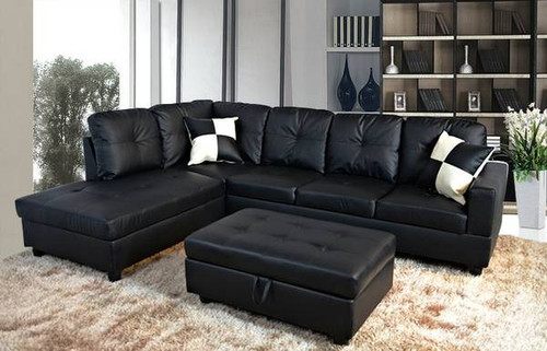 2 PCS BLACK SECTIONAL SOFA CHAISE WITH ACCENT PILLOWS