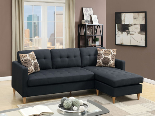 2PC REVERSIBLE SECTIONAL w/PILLOWS IN BLACK